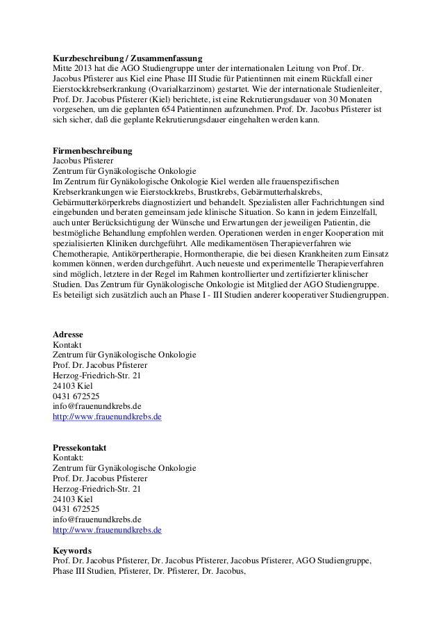 Studie unter der Leitung von Prof. Dr. Jacobus Pfisterer Slide 3