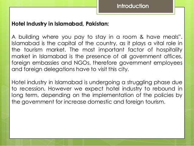 Studing the growth model of hotel industry in islamabad
