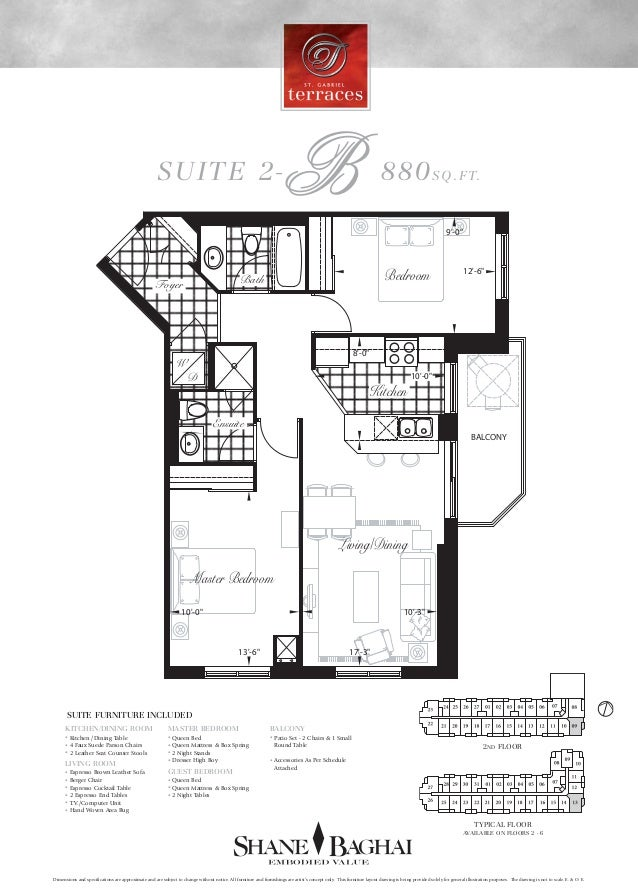 "SUITE 2-B 880SQ.FT. 12'-6"" 9'-0"" 10'-0"" 8'-0"" 17'-3"" 10'-0"" 10'-3"" 13'-6"" Master Bedroom Kitchen Foyer Bath Ensuite Living..."