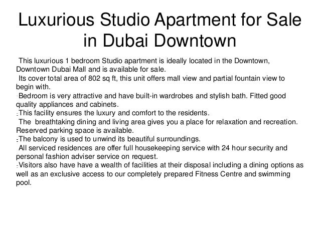 Studio Apartment for Sale in Dubai Downtown | Residential ...