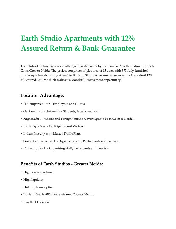 Earth Studio Apartments with 12%Assured Return & Bank GuaranteeEarth Infrastructure presents another gem in its cluster by...