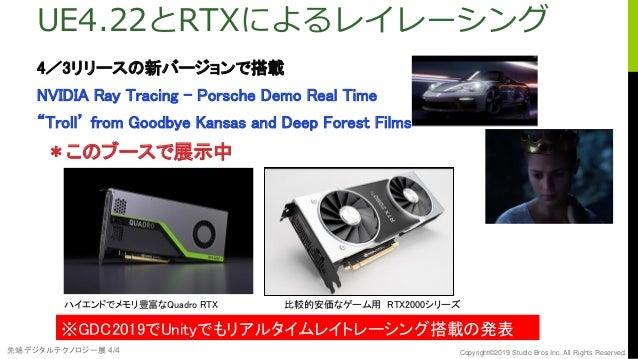 先端デジタルテクノロジー展 4/4 Copyright©2019 Studio Bros Inc. All Rights Reserved. UE4.22とRTXによるレイレーシング 4/3リリースの新バージョンで搭載 NVIDIA Ray T...