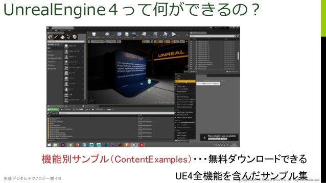 先端デジタルテクノロジー展 4/4 Copyright©2019 Studio Bros Inc. All Rights Reserved. UnrealEngine4って何ができるの? 機能別サンプル(ContentExamples)・・・無...