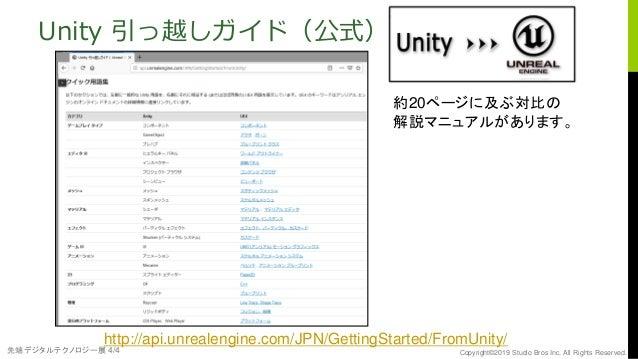 先端デジタルテクノロジー展 4/4 Copyright©2019 Studio Bros Inc. All Rights Reserved. Unity 引っ越しガイド(公式) http://api.unrealengine.com/JPN/G...
