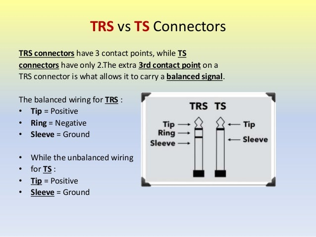 important studio cables usage rh slideshare net trs to rca cable wiring trs cable wiring diagram