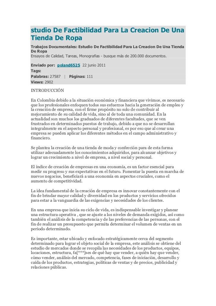 studio De Factibilidad Para La Creacion De UnaTienda De RopaTrabajos Documentales: Estudio De Factibilidad Para La Creacio...