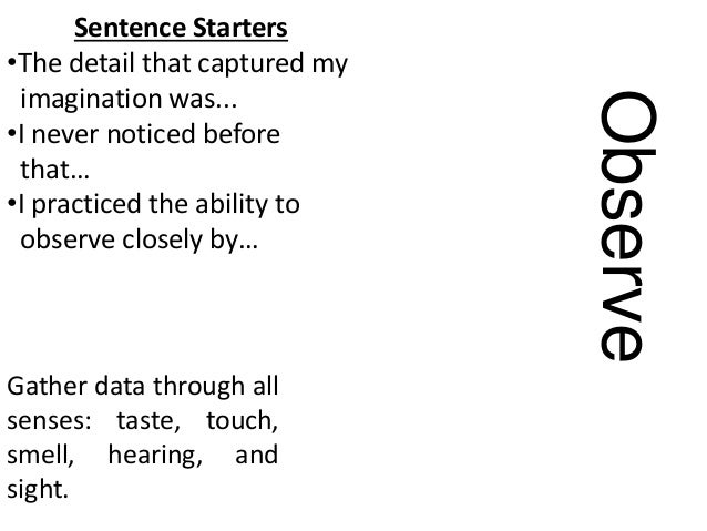 Observe Gather data through all senses: taste, touch, smell, hearing, and sight. Sentence Starters •The detail that captur...