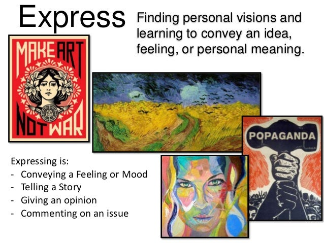 Express Finding personal visions and learning to convey an idea, feeling, or personal meaning. Expressing is: - Conveying ...