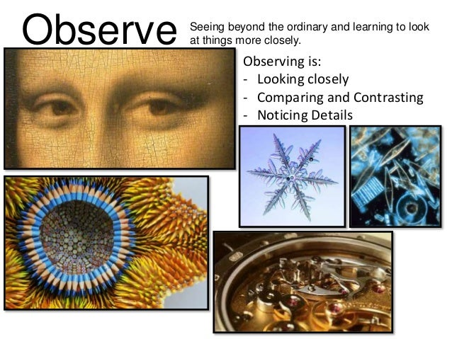 Observe Seeing beyond the ordinary and learning to look at things more closely. Observing is: - Looking closely - Comparin...
