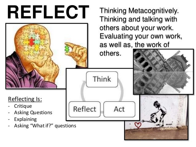 REFLECT Thinking Metacognitively. Thinking and talking with others about your work. Evaluating your own work, as well as, ...