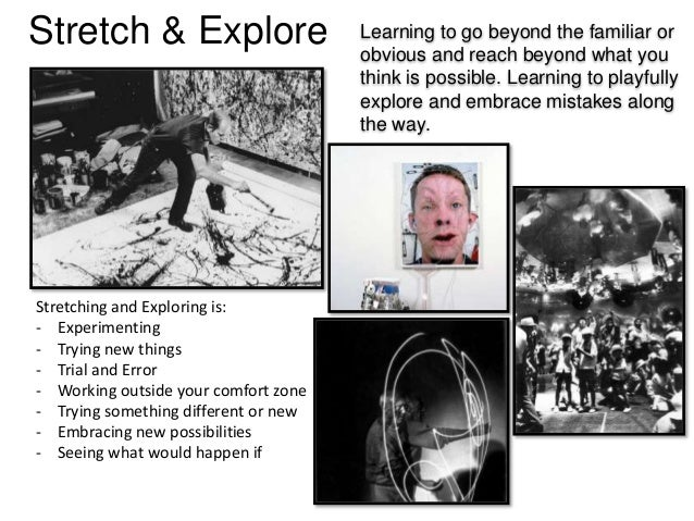 Stretch & Explore Learning to go beyond the familiar or obvious and reach beyond what you think is possible. Learning to p...