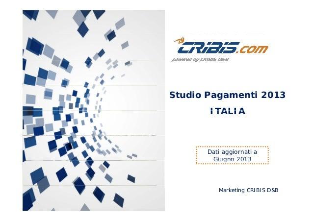 Studio Pagamenti 2013 ITALIA  Dati aggiornati a Giugno 2013  Marketing CRIBIS D&B