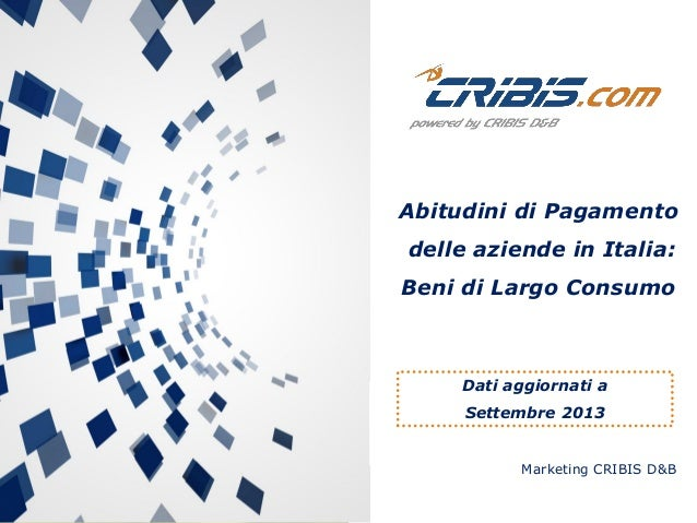 Marketing CRIBIS D&B Abitudini di Pagamento delle aziende in Italia: Beni di Largo Consumo Dati aggiornati a Settembre 2013