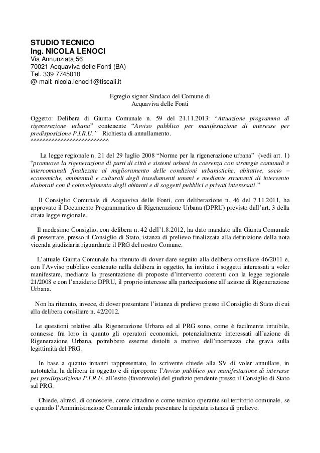 STUDIO TECNICO Ing. NICOLA LENOCI Via Annunziata 56 70021 Acquaviva delle Fonti (BA) Tel. 339 7745010 @-mail: nicola.lenoc...