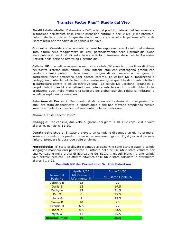 Transfer Factor Plus™ Studio dal Vivo  Finalità dello studio: Determinare l'efficacia dei prodotti naturali nell'increment...