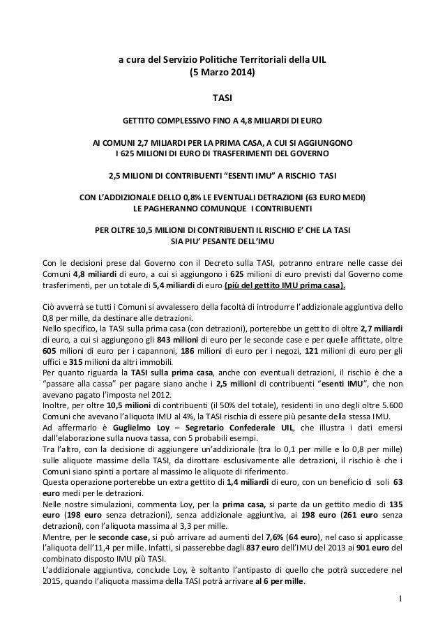 acuradelServizioPoliticheTerritorialidellaUIL (5Marzo2014)  TASI  GETTITOCOMPLESSIVOFINOA4,8MILIARDID...