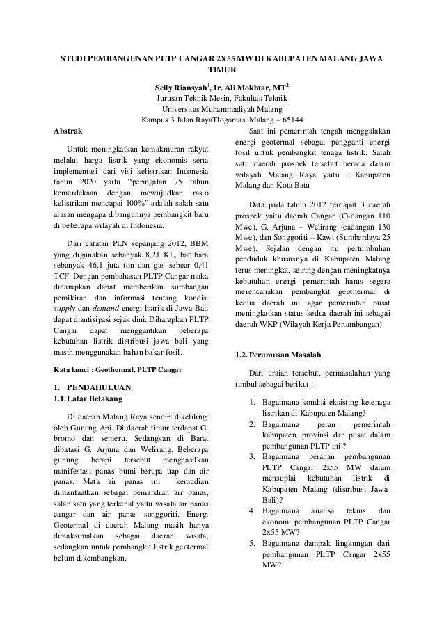 STUDI PEMBANGUNAN PLTP CANGAR 2X55 MW DI KABUPATEN MALANG JAWA TIMUR Selly Riansyah1, Ir. Ali Mokhtar, MT2 Jurusan Teknik ...