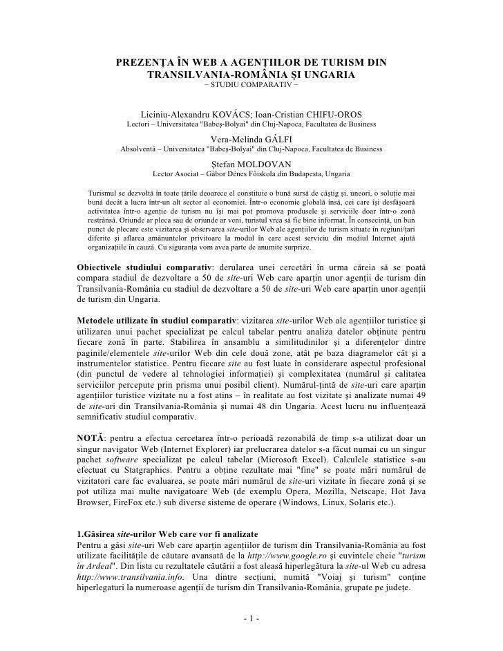 PREZENŢA ÎN WEB A AGENŢIILOR DE TURISM DIN                 TRANSILVANIA-ROMÂNIA ŞI UNGARIA                                ...