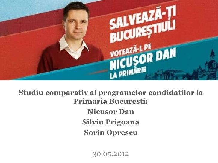 Studiu comparativ al programelor candidatilor la             Primaria Bucuresti:                 Nicusor Dan              ...
