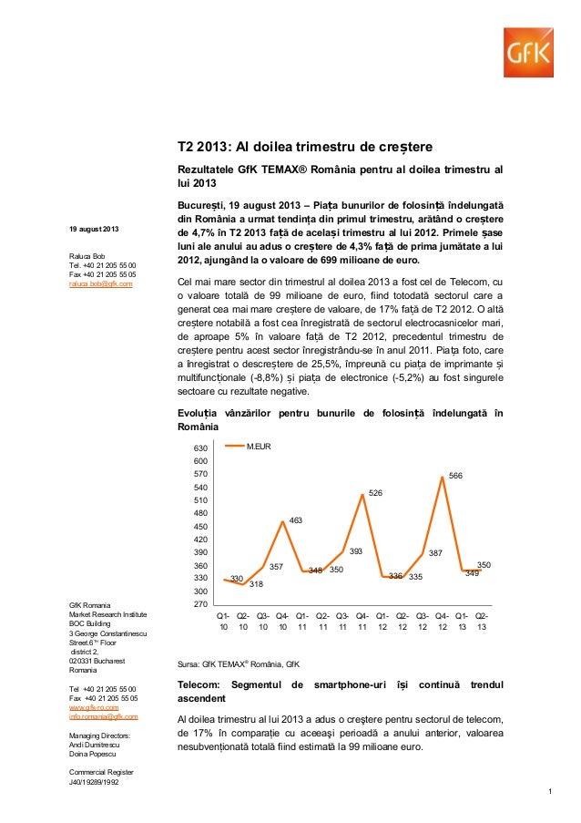 T2 2013: Al doilea trimestru de cre tereș Rezultatele GfK TEMAX® România pentru al doilea trimestru al lui 2013 Bucure ti,...