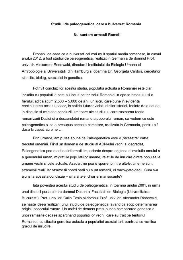 Studiul de paleogenetica, care a bulversat Romania. Nu suntem urmasii Romei! Probabil ca ceea ce a bulversat cel mai mult ...