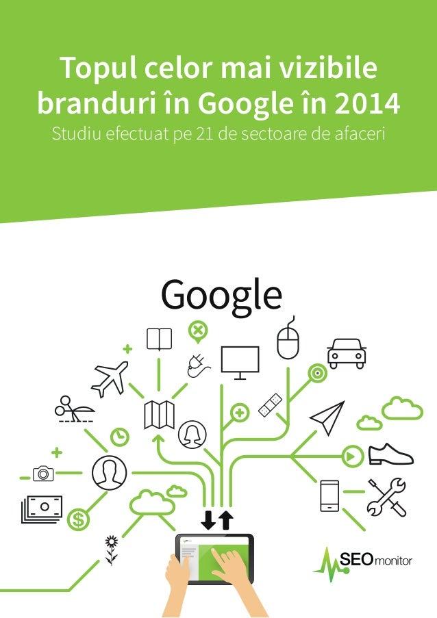 Topul celor mai vizibile  branduri în Google în 2014  Studiu efectuat pe 21 de sectoare de afaceri  Google