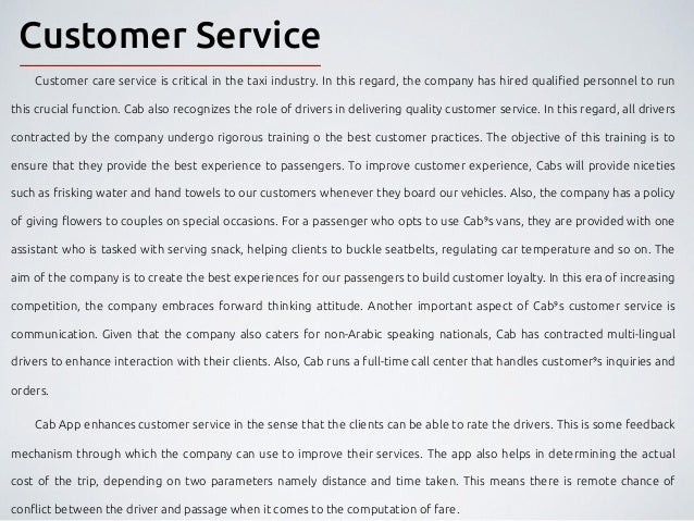 Business plan customer care