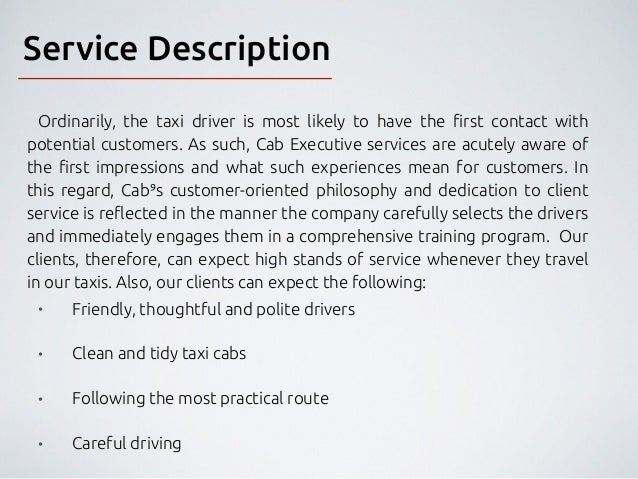 taxi cab business plan Tom terrance of explains how to create a marketing plan for a taxi company.