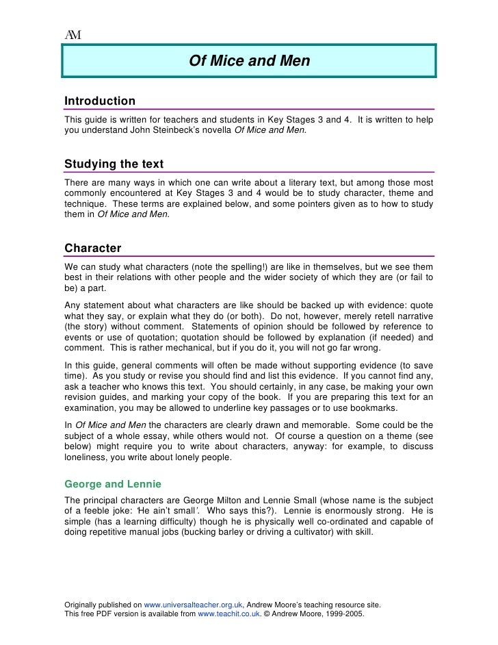 An Analysis Of The Story Of Of Mice And Men Custom Paper Example