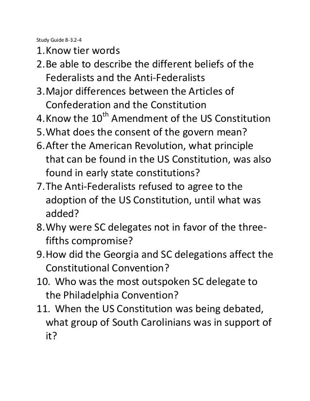 Study Guide 8-3.2-4  1. Know tier words 2. Be able to describe the different beliefs of the Federalists and the Anti-Feder...