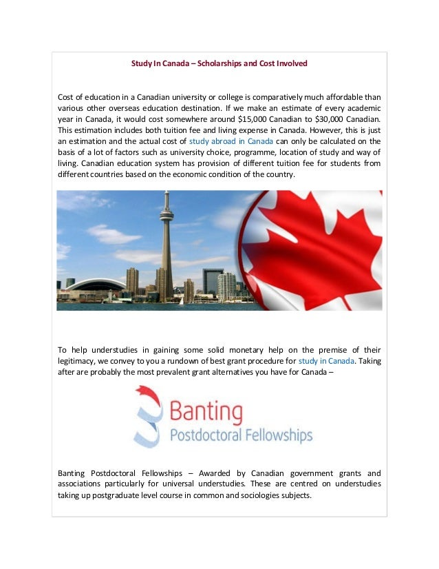 Study in canada – scholarships and cost involved