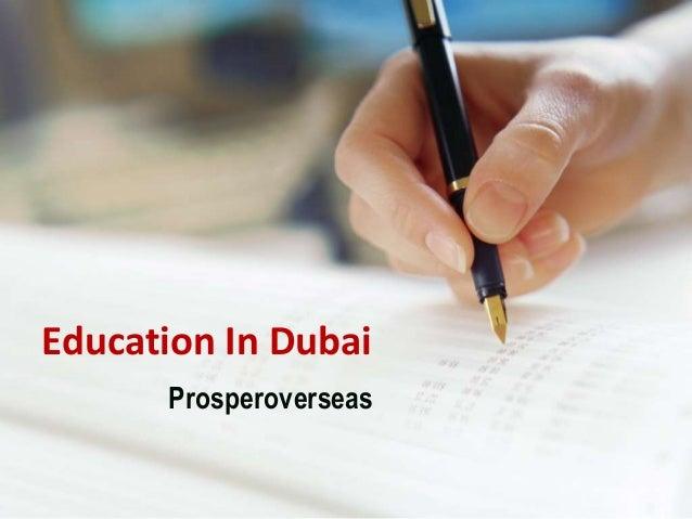 Education In Dubai Prosperoverseas