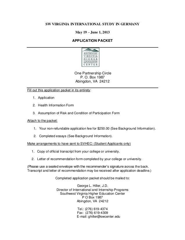 SW VIRGINIA INTERNATIONAL STUDY IN GERMANY                                    May 19 – June 1, 2013                       ...