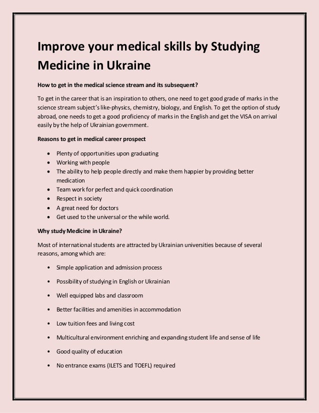 Improve your medical skills by Studying Medicine in Ukraine