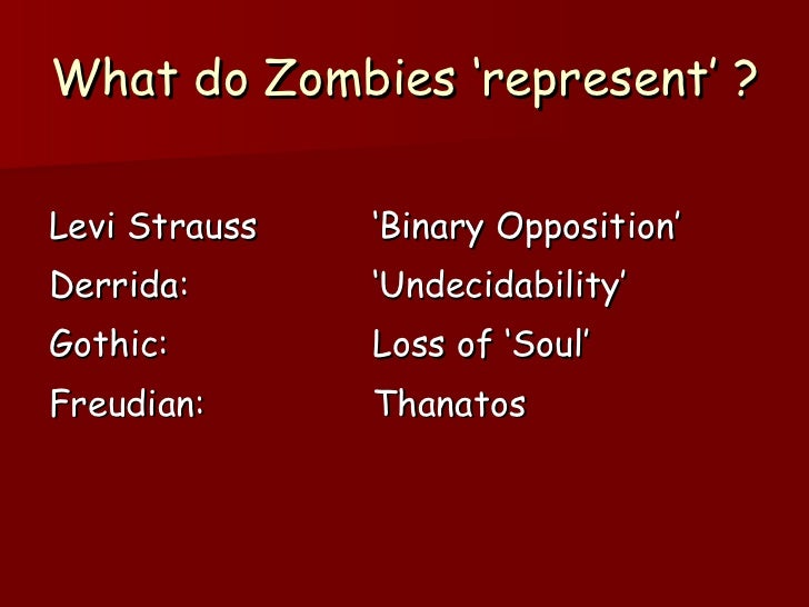 What do Zombies 'represent' ? <ul><li>Levi Strauss 'Binary Opposition' </li></ul><ul><li>Derrida: 'Undecidability' </li></...