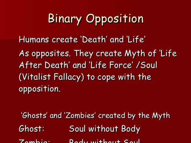 Binary Opposition <ul><li>Humans create 'Death' and 'Life' </li></ul><ul><li>As opposites. They create Myth of 'Life After...