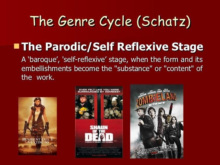 The Genre Cycle (Schatz) <ul><li>The Parodic/Self Reflexive Stage </li></ul><ul><li>A 'baroque', 'self-reflexive' stage, w...