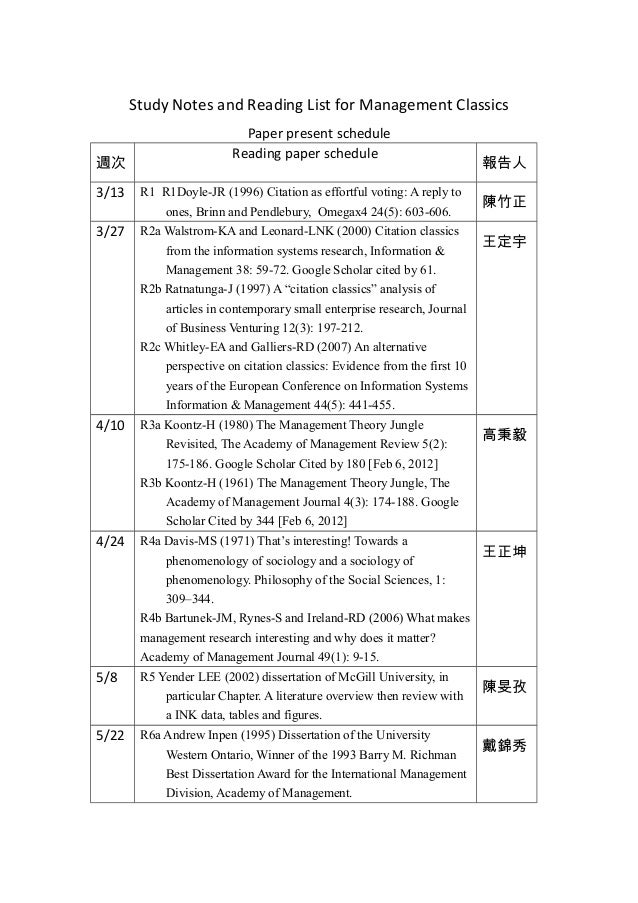 Study Notes and Reading List for Management ClassicsPaper present schedule週次Reading paper schedule報告人3/13 R1 R1Doyle-JR (1...