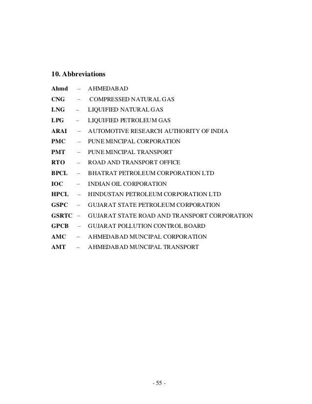 - 55 - 10. Abbreviations Ahmd AHMEDABAD CNG COMPRESSED NATURAL GAS LNG LIQUIFIED NATURAL GAS LPG LIQUIFIED PETROLEUM GAS A...