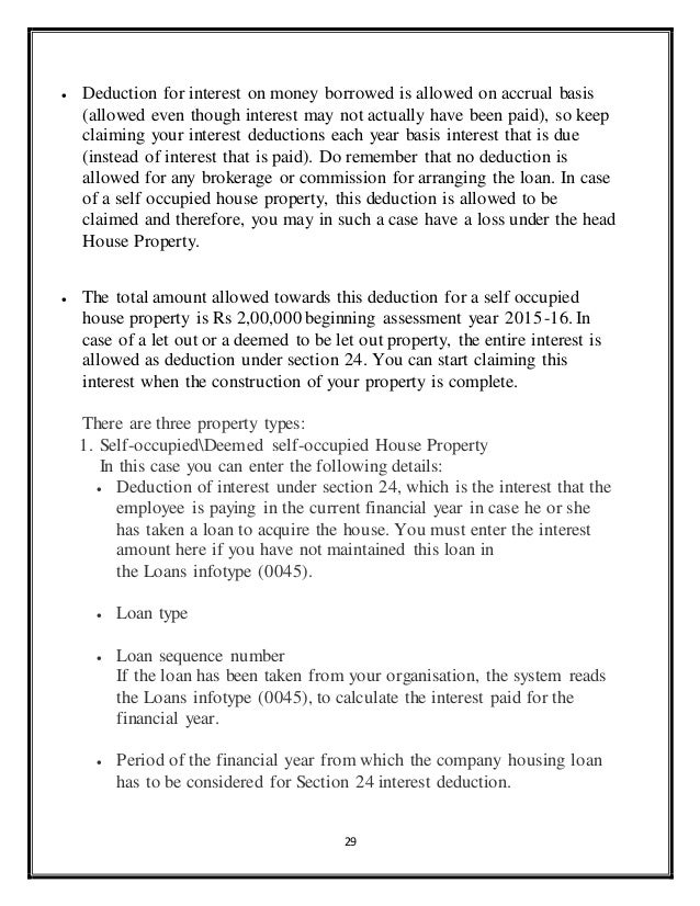 Interest On House Loan Section 24