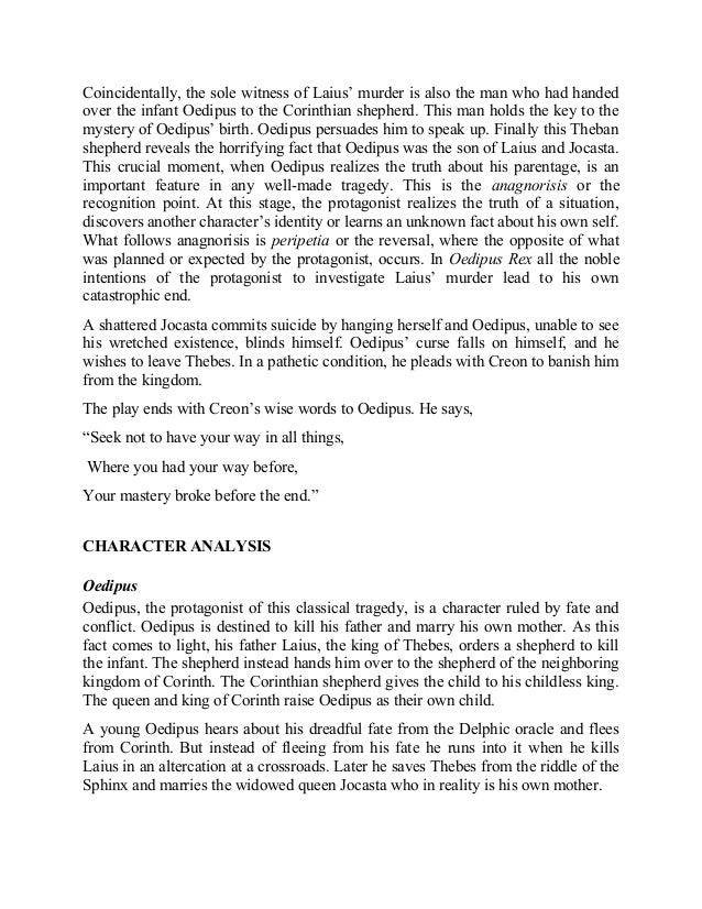 a literary analysis of the character oedipus the king by sophocles Everything you ever wanted to know about the characters in oedipus the king oedipus the king by sophocles home / literature / oedipus the king / characters.