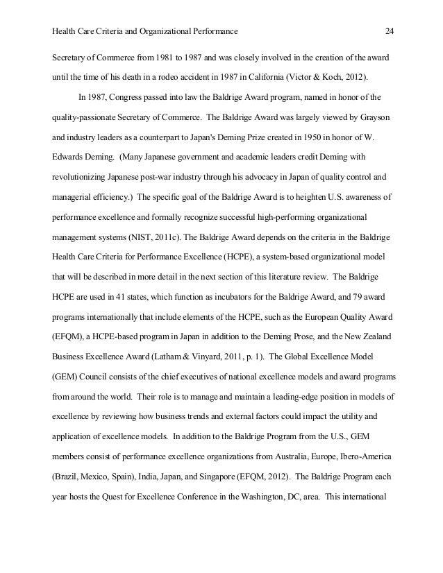 study of malcolm baldrige health care criteria effectiveness and orga