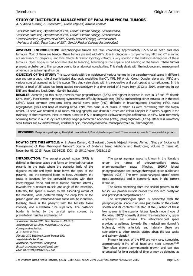 Study of parapharyngeal tumors