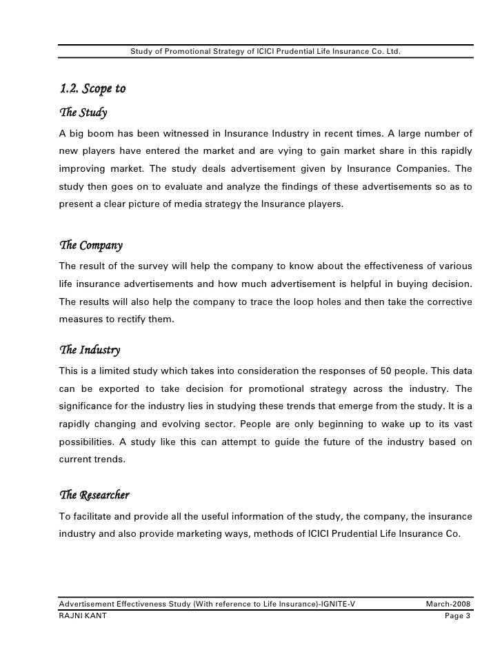 study of marketing of icici prudential life insurance essay Complete profile overview icici prudential life insurance company is a joint venture between icici bank - one of india's foremost financial services companies-and prudential plc - a leading international financial services group headquartered in the united kingdom.