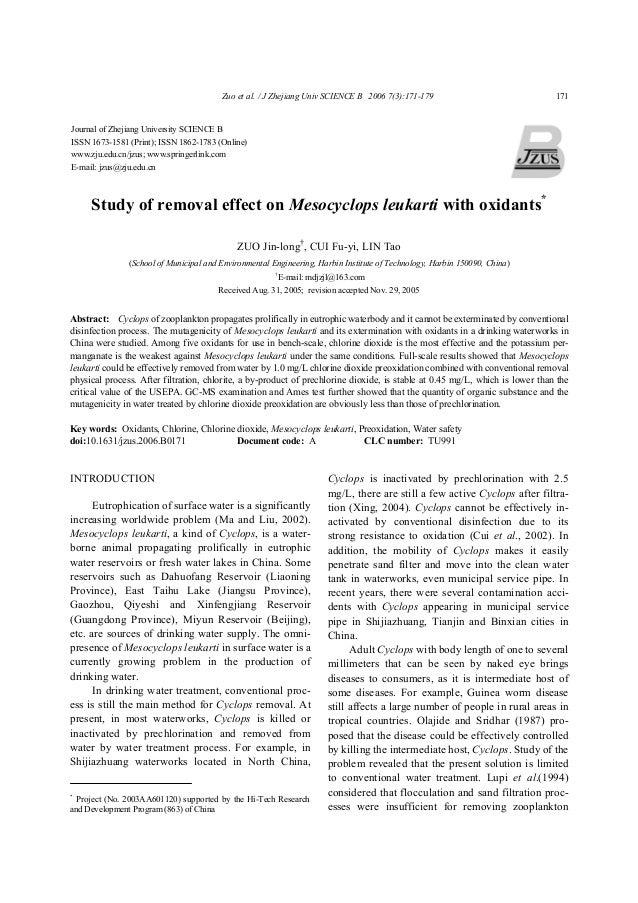 Zuo et al. / J Zhejiang Univ SCIENCE B 2006 7(3):171-179 171 Study of removal effect on Mesocyclops leukarti with oxidants...