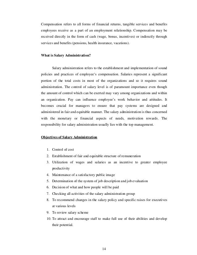 Study of salary administration – Salary Increase Form