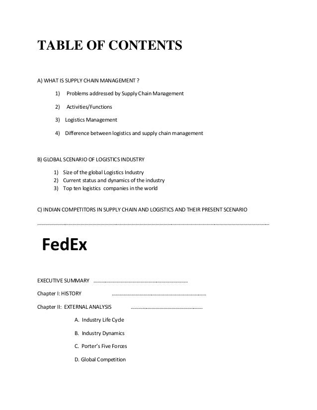 fedex logistics project report Logistics is generally the detailed organization and  where inventorying means making a report on stock  capital project logistics.