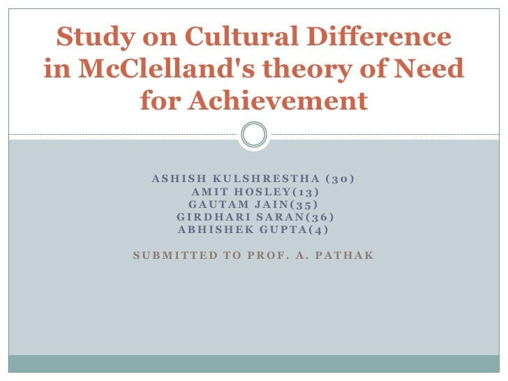 Study on Cultural Differencein McClellands theory of Need       for Achievement        ASHISH KULSHRESTHA (30)            ...