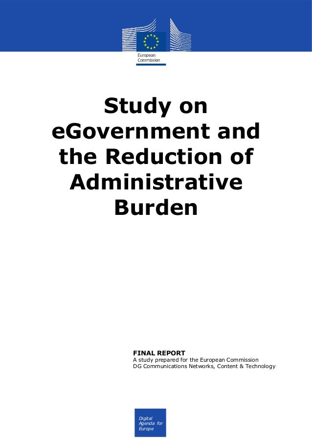 FR Digital Agenda for Europe Study on eGovernment and the Reduction of Administrative Burden FINAL REPORT A study prepared...