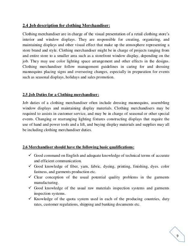 10 9 24 job description for clothing merchandiser. Resume Example. Resume CV Cover Letter